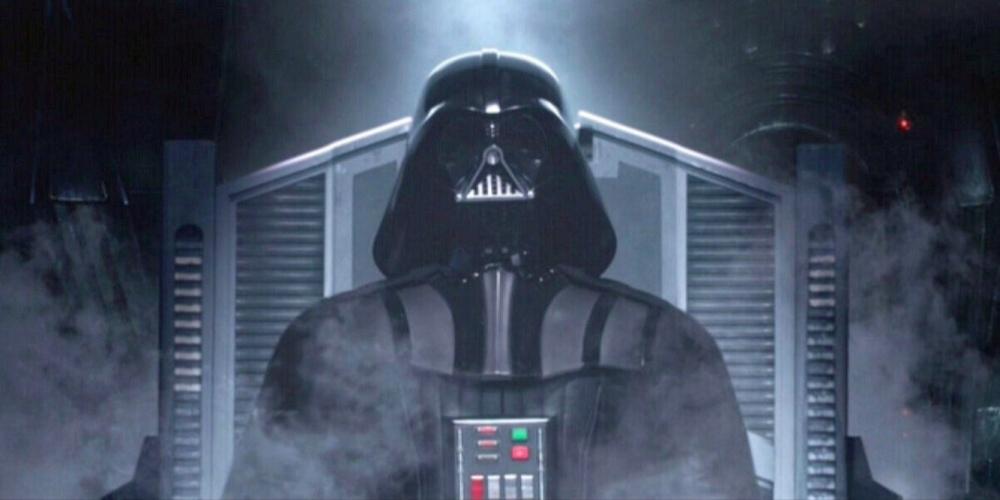 Anakin rebuilt as Darth Vader.
